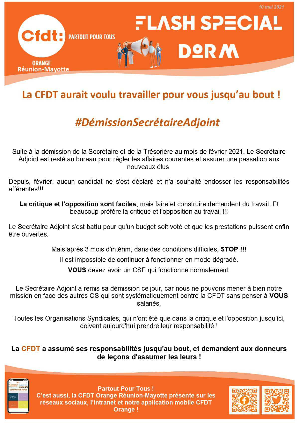 #Flash Spécial - Démission du secrétaire adjoint du CSE