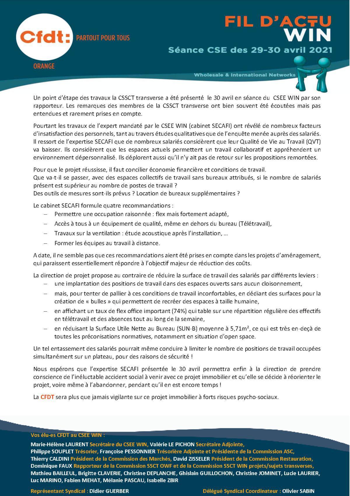 le fil d'actu du CSEE WIN - avril 2021