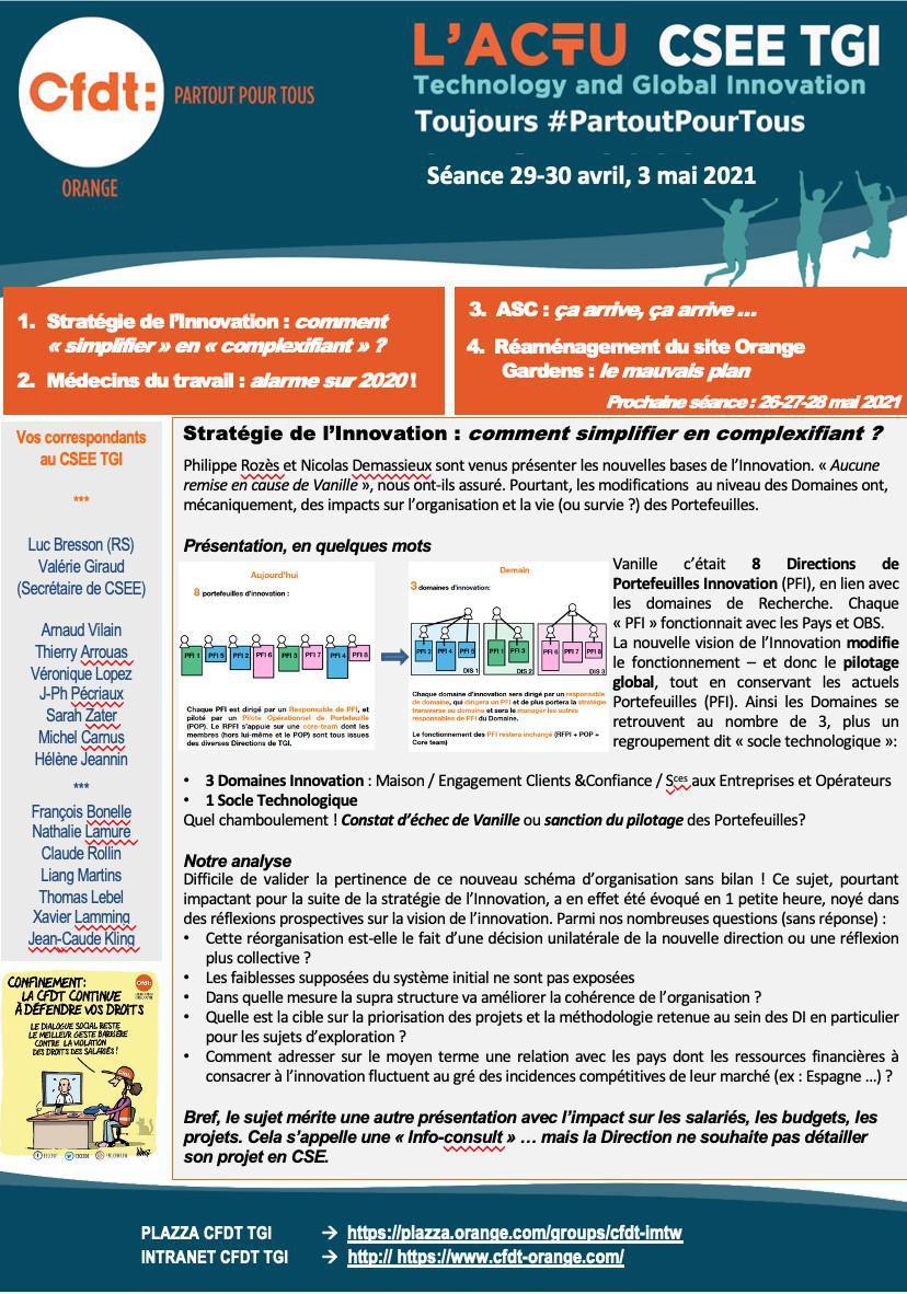 L'actu CSEE - Séance 29-30 avril et 3 mai 2021