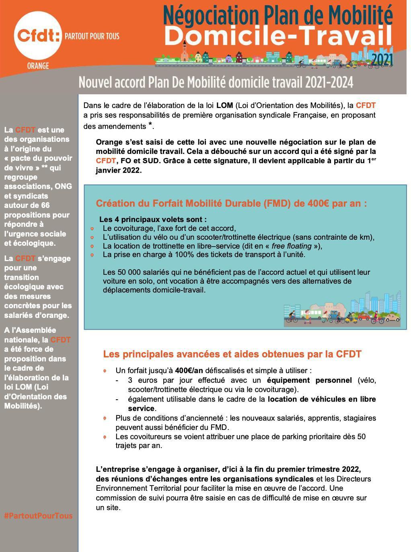 Nouvel accord Plan de Mobilité domicile-travail 2021-2024
