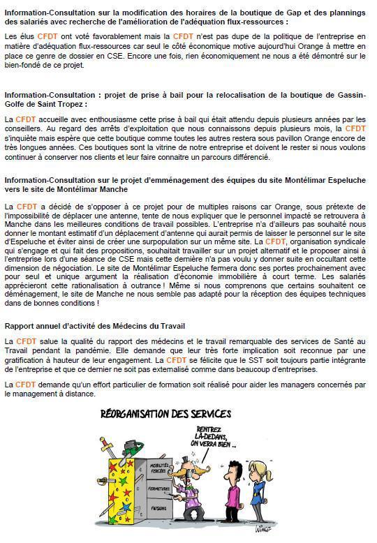 La lettre des élu(e)s CSE - Mai 2021