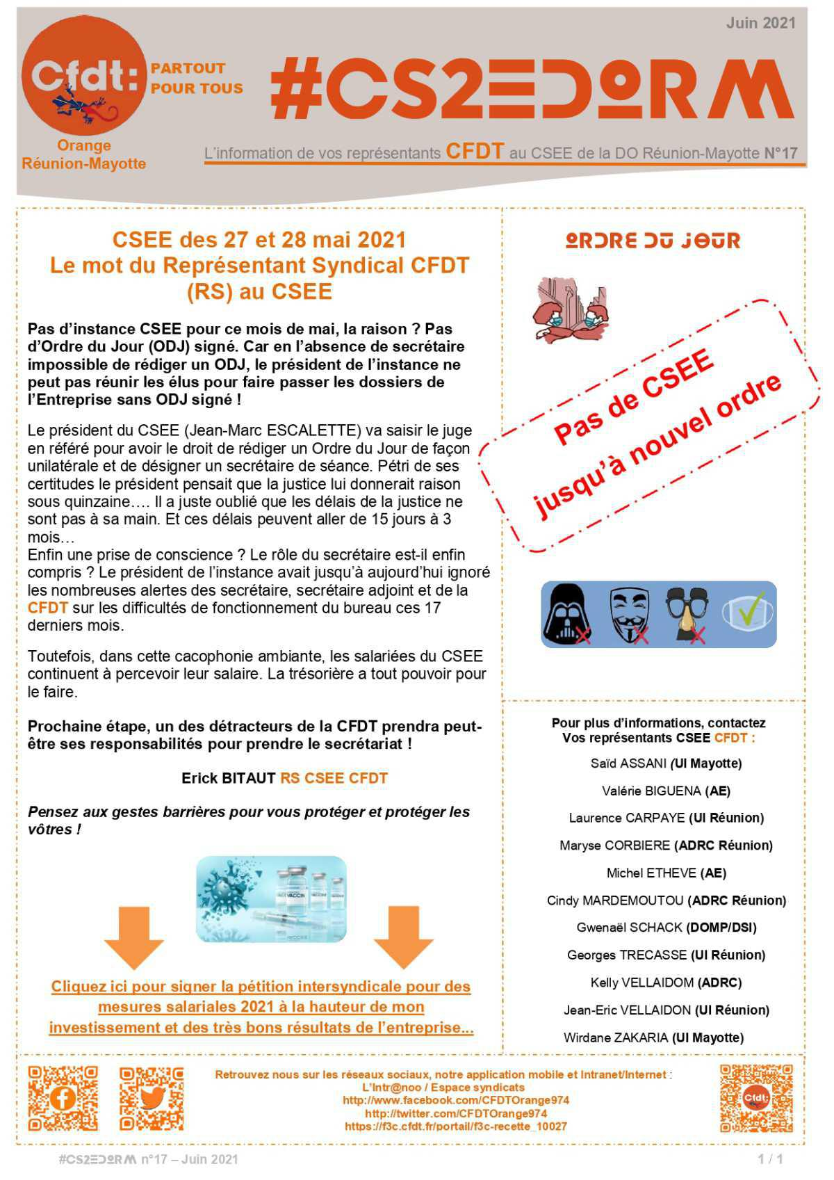 #CS2EDORM n°17 - Pas de CSE au mois de mai !