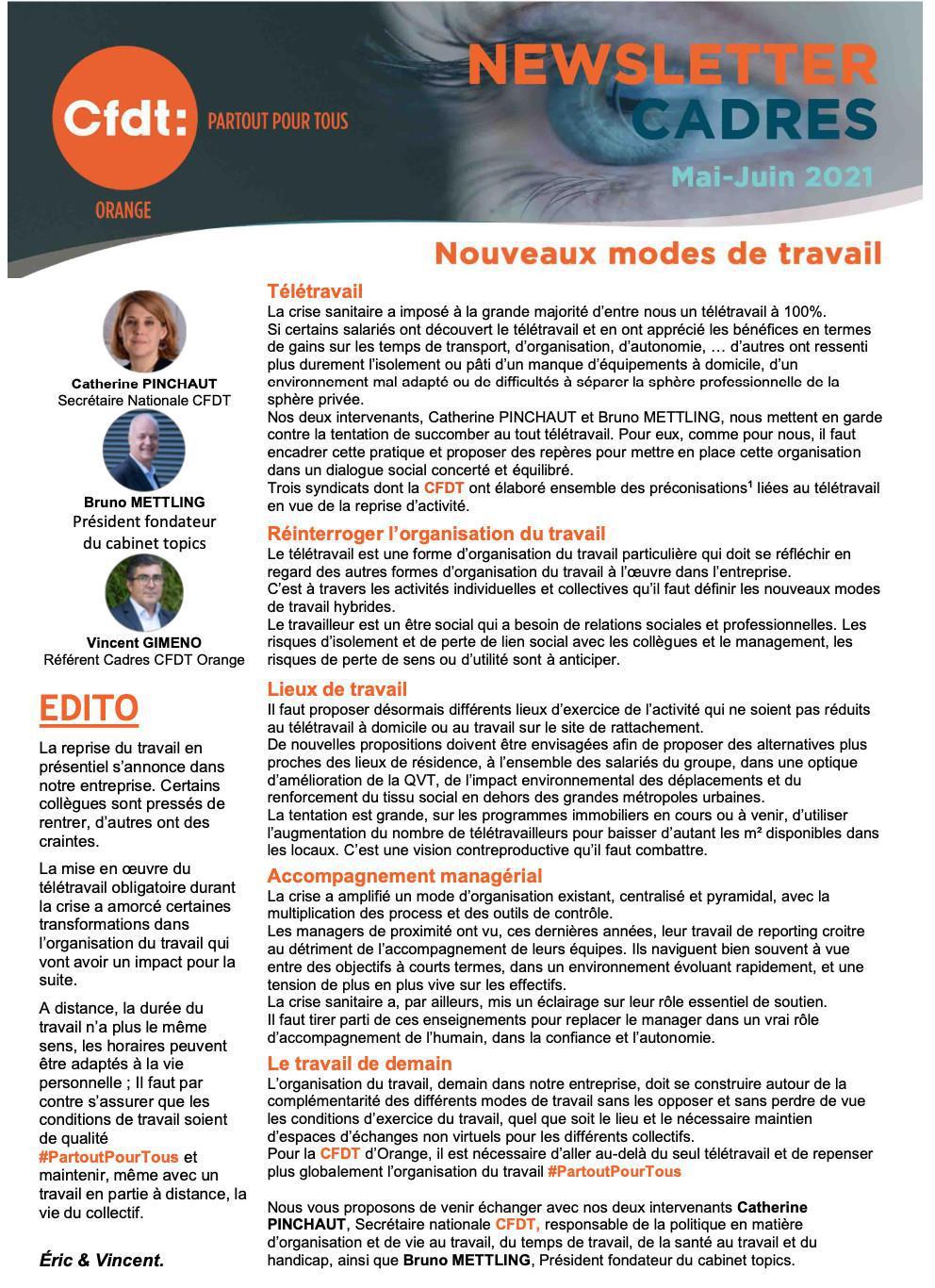 Newsletter Cadres : nouveaux modes de travail - Mai-Juin 2021