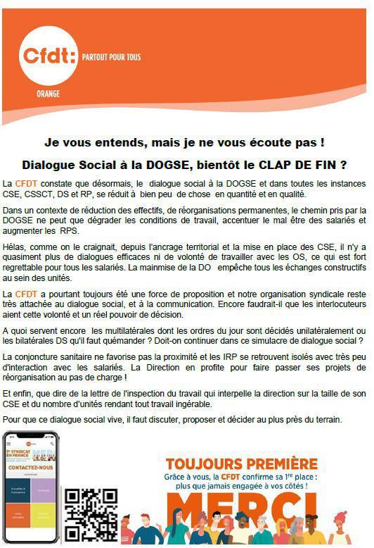 Dialogue Social à la DOGSE, bientôt le CLAP DE FIN ?