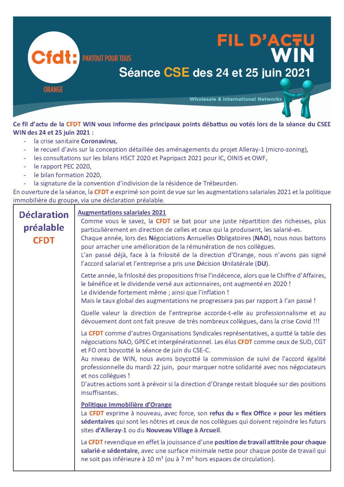 le fil d'actu du CSEE WIN - Juin 2021
