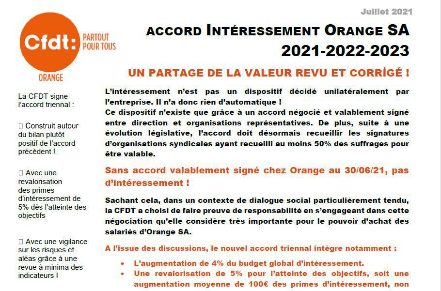 Accord Interessement Orange SA