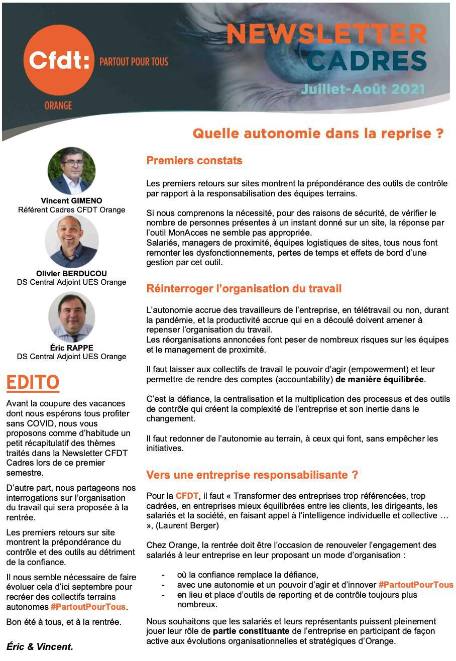 Newsletter Cadres -#Juillet/Août 2021