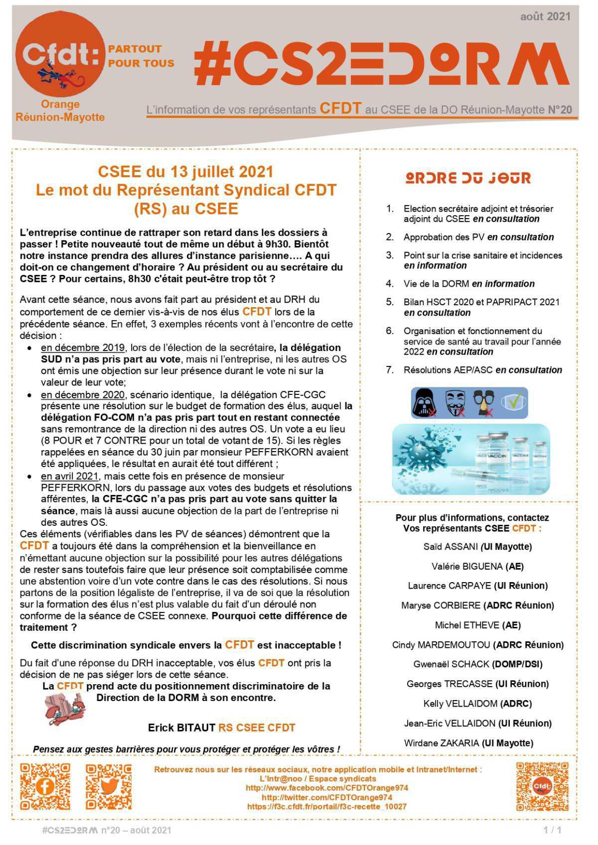 #CS2EDORM n°20 - La CFDT victime de discrimination Syndicale!