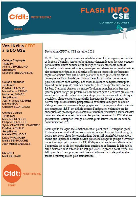 La lettre des élu(e)s CSE - Juillet 2021