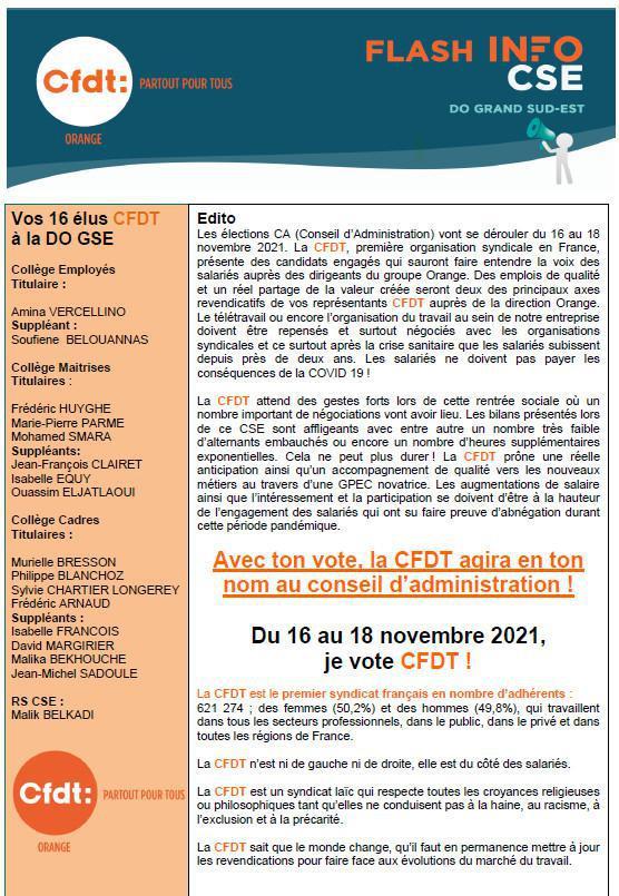 La lettre des élu(e)s CSE - Aout 2021