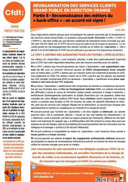 Réorganisation des Services Clients Grand Public en Direction Orange