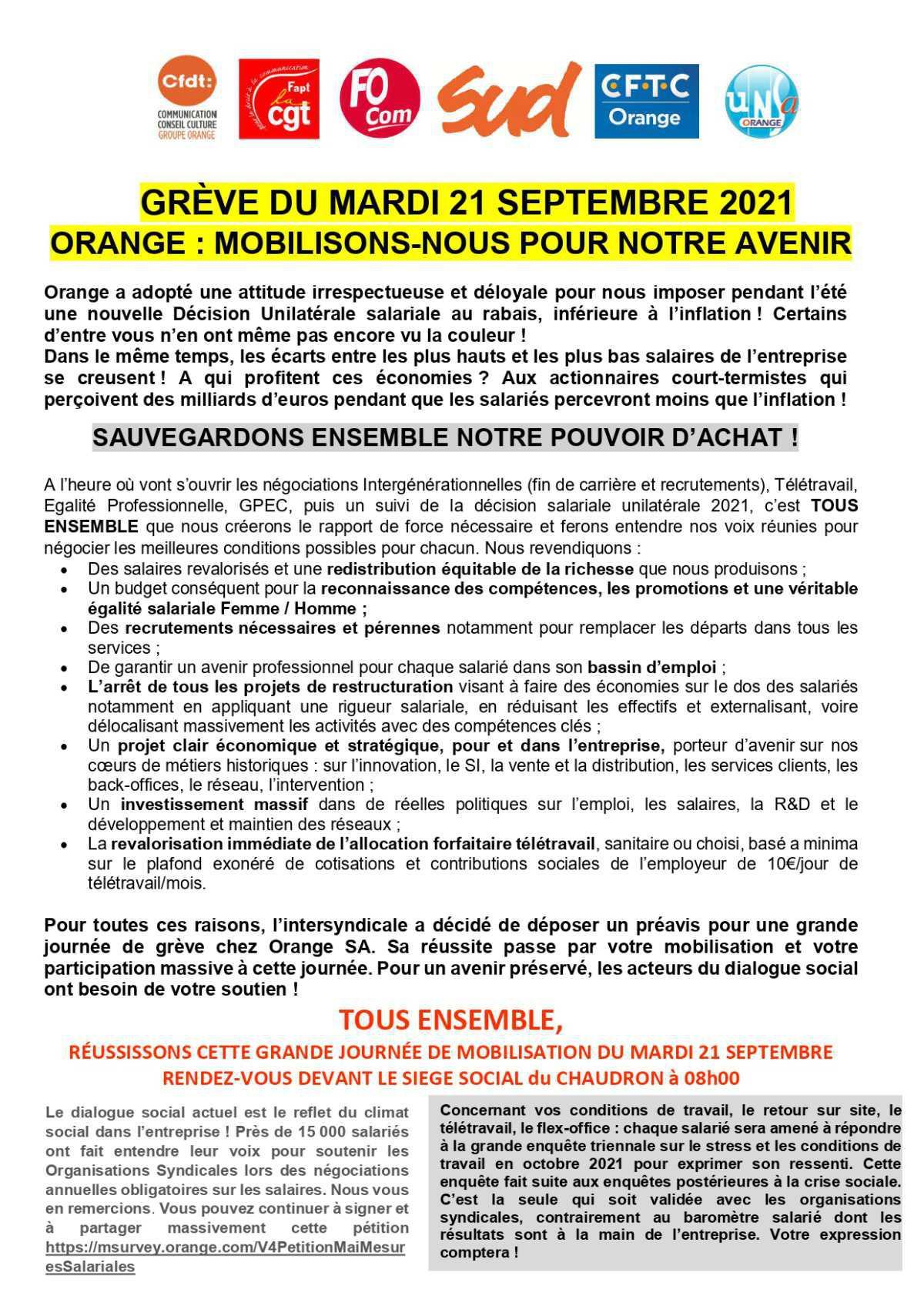 🚨[APPEL A LA GREVE]🚨 ON COMPTE SUR VOUS dès 8h mardi 21 septembre devant le siège au CHAUDRON