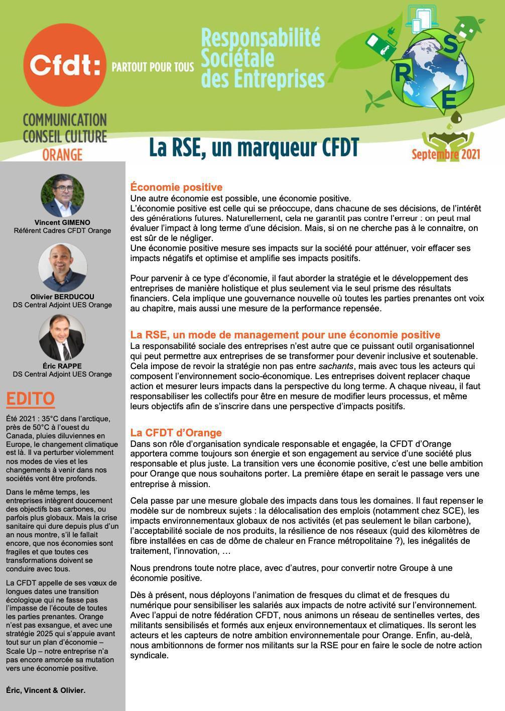 #RSE N°1 : la RSE, un marqueur CFDT