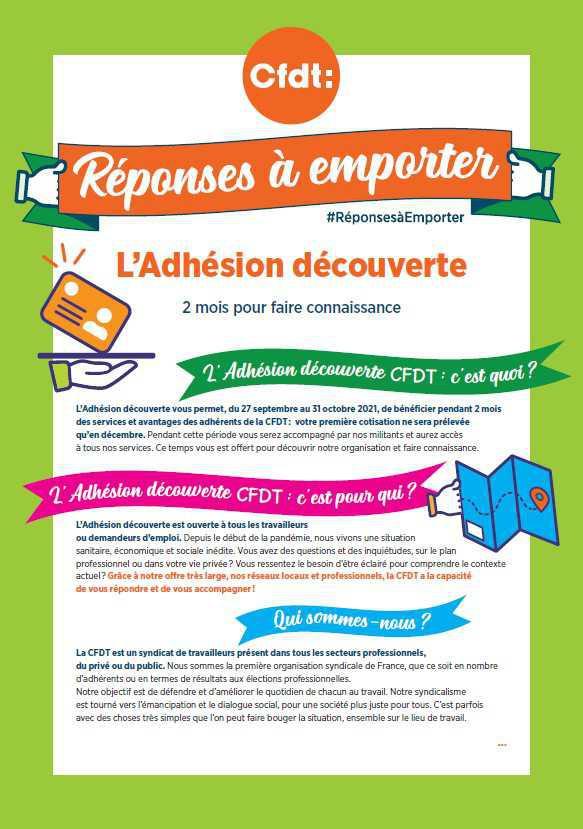 """Adhésion découverte CFDT & Opération """"Réponses à emporter""""."""
