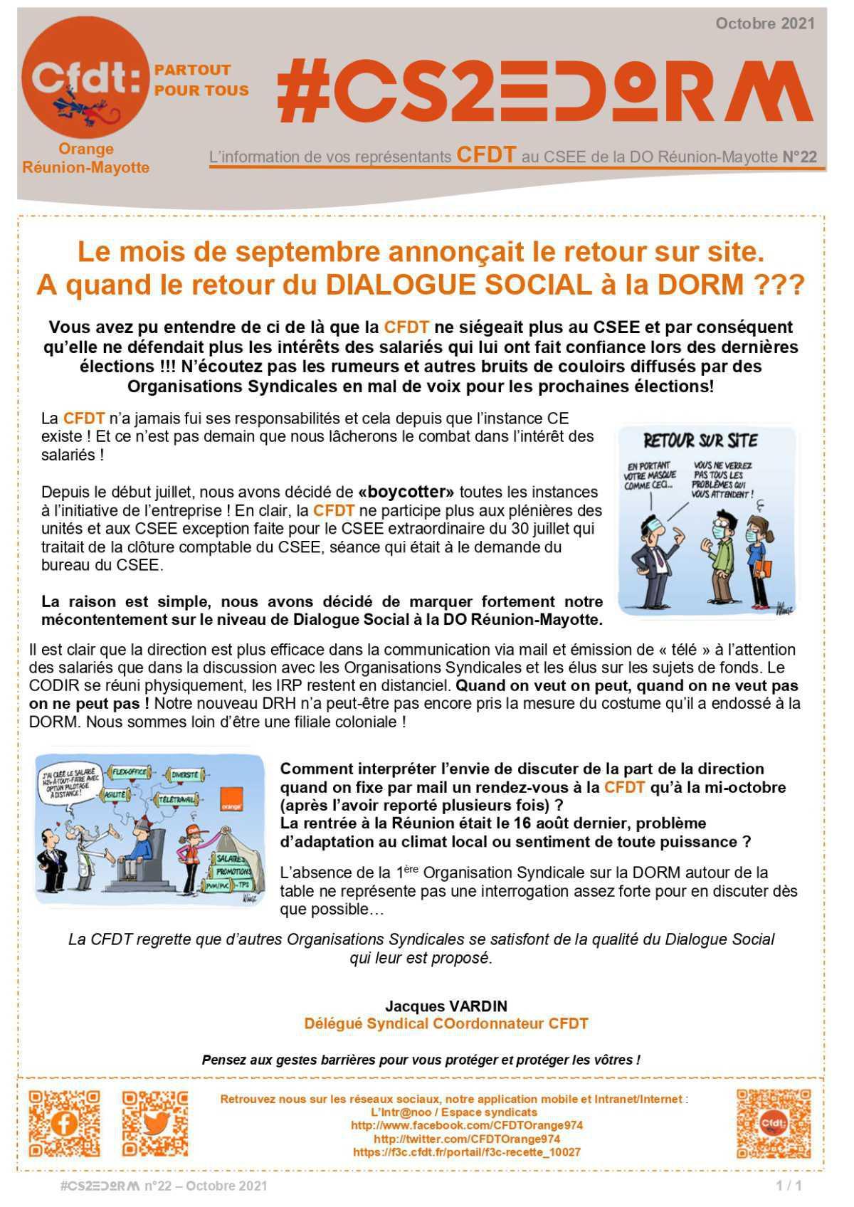 #CS2EDORM n°22 - La CFDT et le Dialogue Social à la DORM