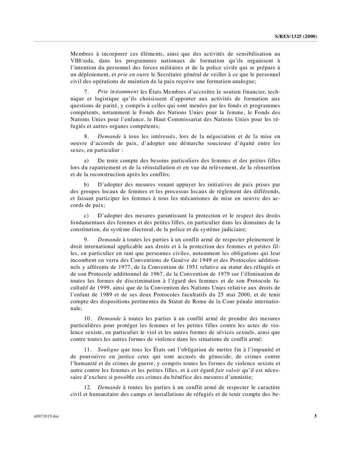 Nations Unies Conseil de sécurité Résolution 1325 (French)
