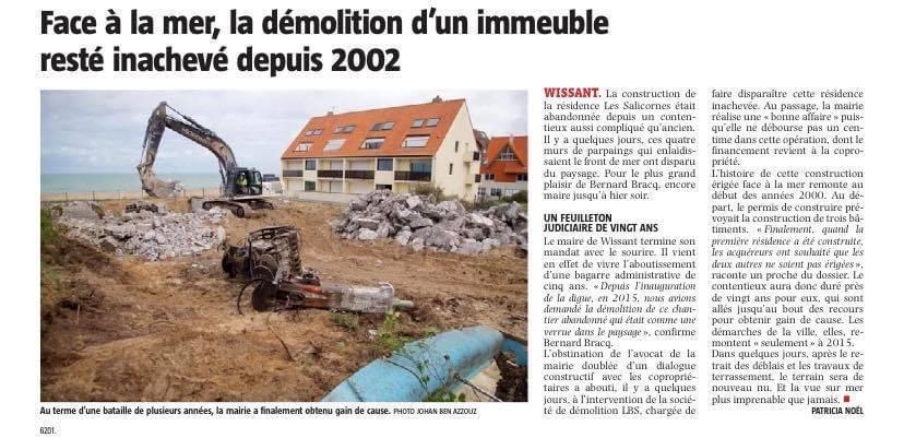 À Wissant, la démolition d'un immeuble restée inachevée depuis 2002 a enfin repris