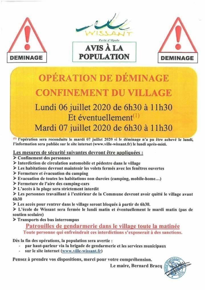 Opération de Déminage avec Confinement Lundi 6 Juillet