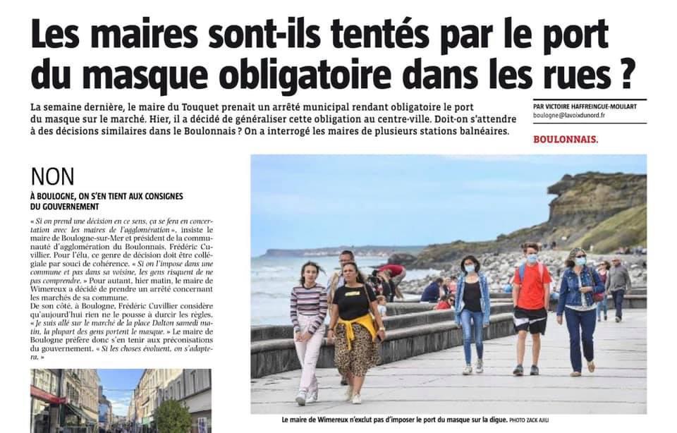 Les maires du Boulonnais sont-ils tentés par le port du masque obligatoire dans les rues ?