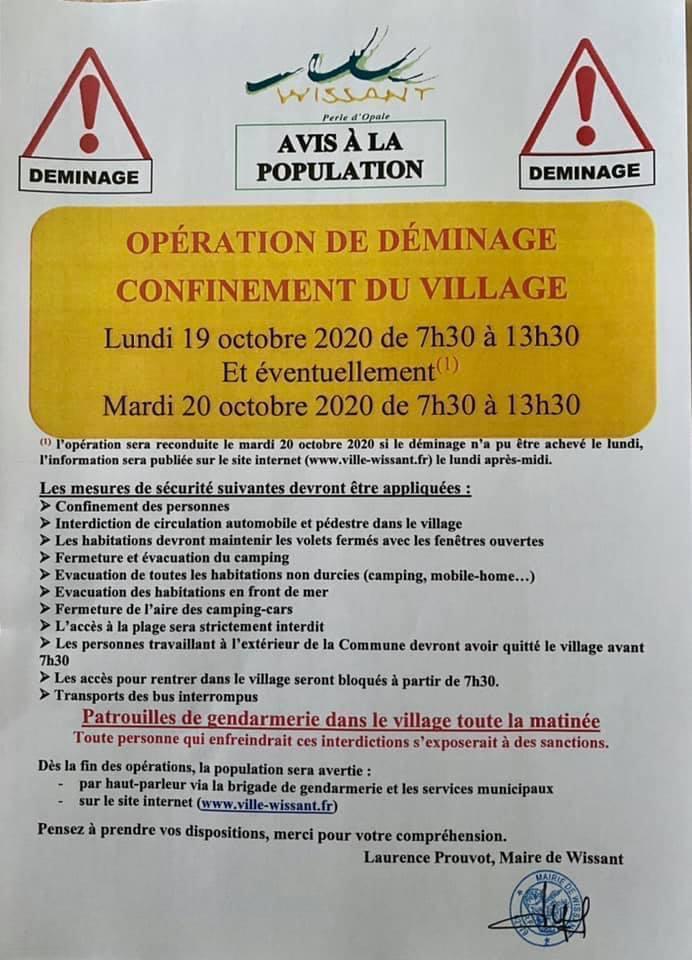 Déminage à Wissant - intervention programmée le 19 octobre