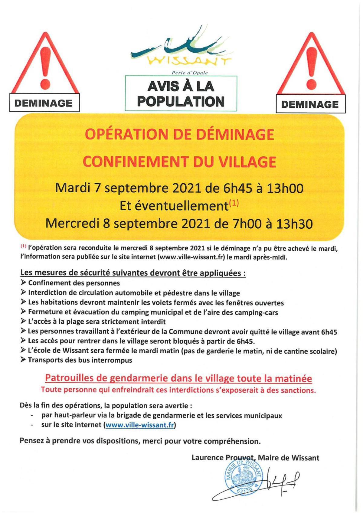 Wissant: déminage avec confinement les 7 et 8 Septembre 2021