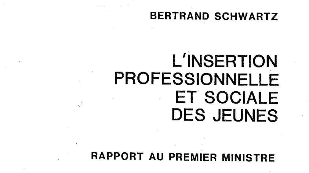 Insertion professionnelle et sociale des jeunes - Rapport du Premier Ministre