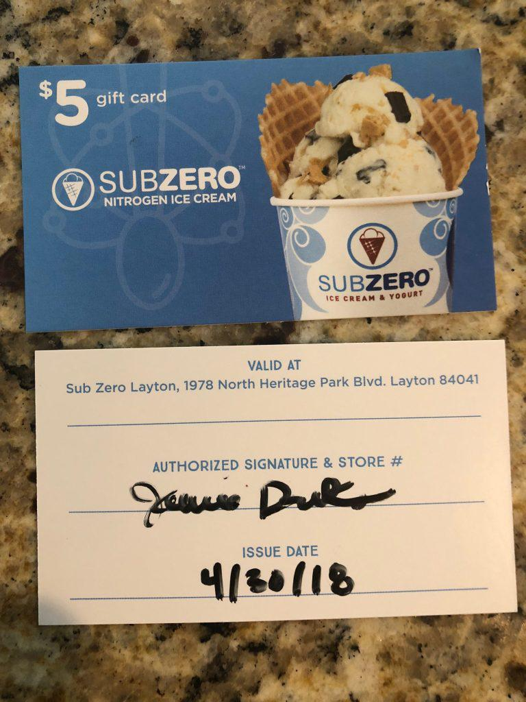 UTAH AIR SHOW – GIFT CARDS SUB ZERO ICE CREAM.