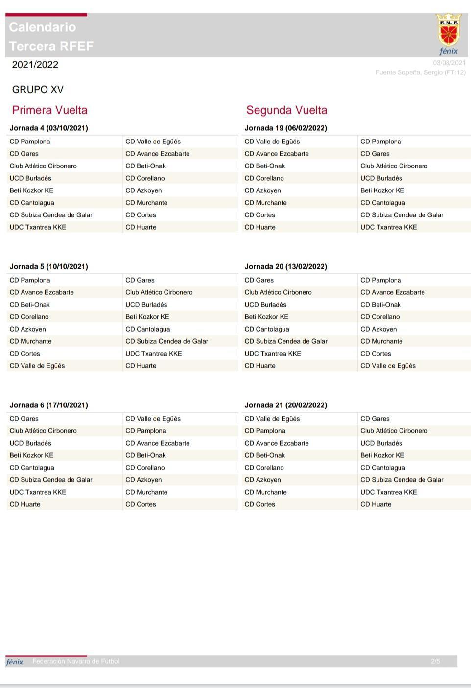 CALENDARIO 2021/2022 DEL EQUIPO DE TERCERA DIVISIÓN (3 RFEF GRUPO XV). HIRUGARREN MAILAKO TALDEAREN 2021/2022 EGUTEGIA(3RFEF XV MULTZOA)