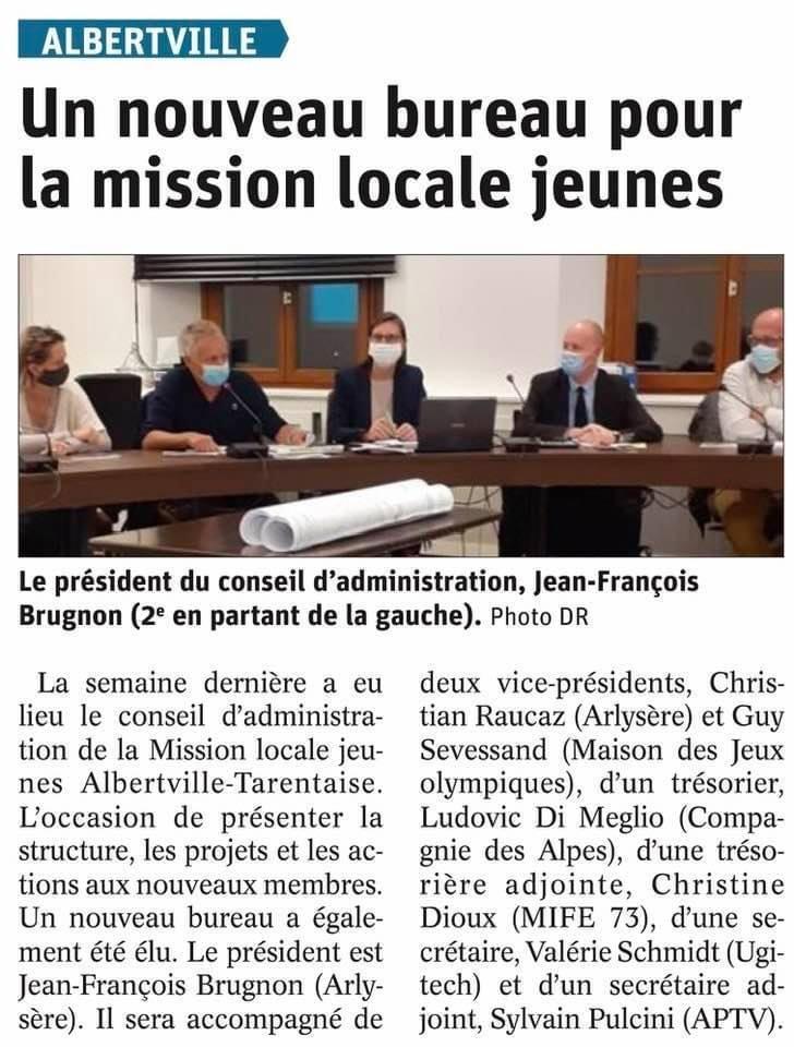 Nouveau bureau pour la Mission Locale Jeunes - article Dauphiné Libéré