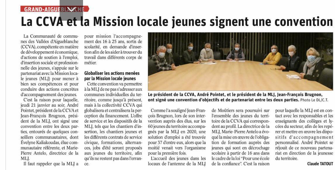 Convention entre la MLJ et la CCVA - article Dauphiné Libéré