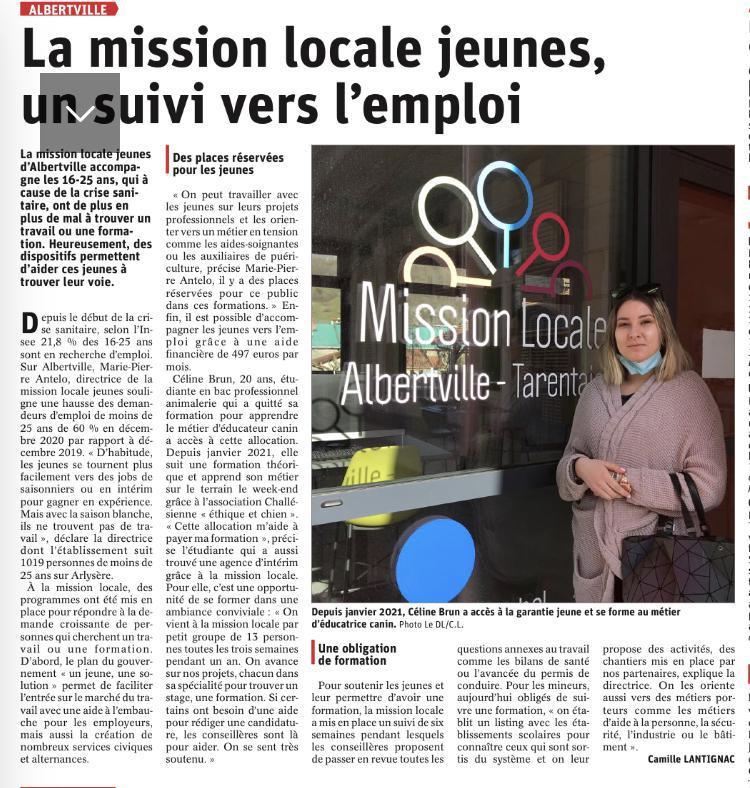 Mission Locale Jeunes, un suivi vers l'emploi - article Dauphiné Libéré