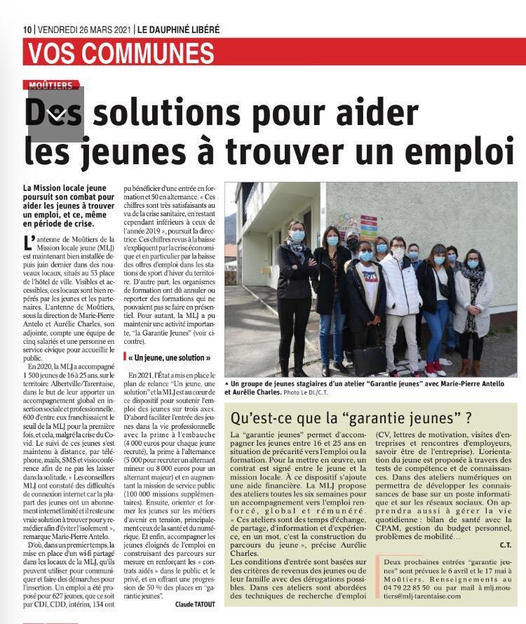 Des solutions pour aider les jeunes à trouver un emploi - article Dauphiné Libéré