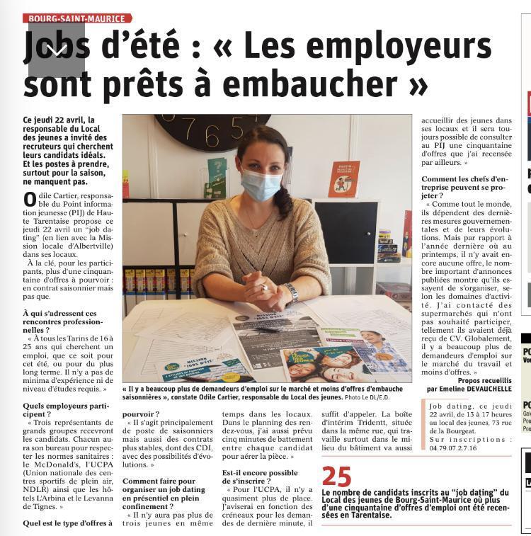 Les employeurs sont prêts à embaucher - article Dauphiné Libéré