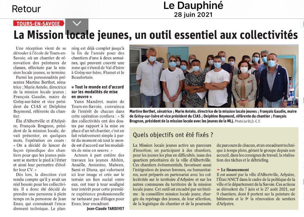 La Mission locale, un outil essentiel aux collectivités - article Dauphiné Libéré