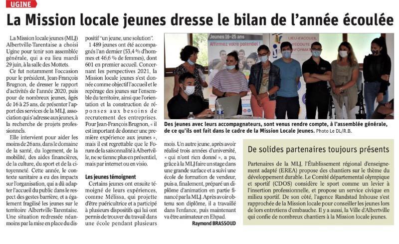 La Mission Locale dresse le bilan de l'année écoulée - article Dauphiné Libéré