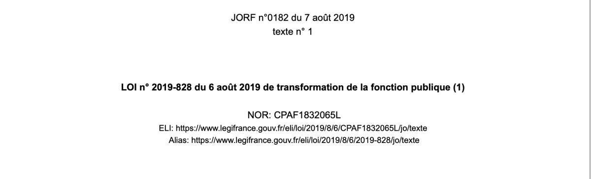 LOI n° 2019-828 du 6 août 2019 de transformation de la fonction publique