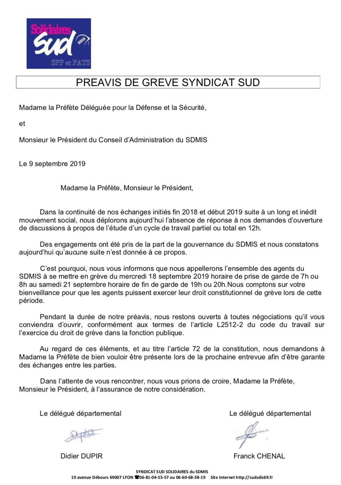 Préavis de grève du 18 au 21 septembres 2019