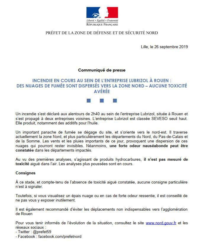 Incendie au sein de l'entreprise Lubrizol à Rouen