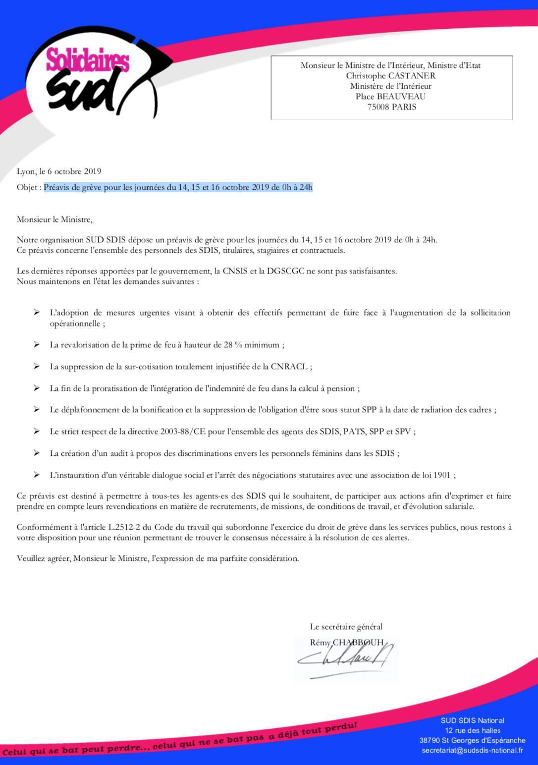 Préavis de grève du 14, 15 et 16 octobre 2019 de 0h à 24h