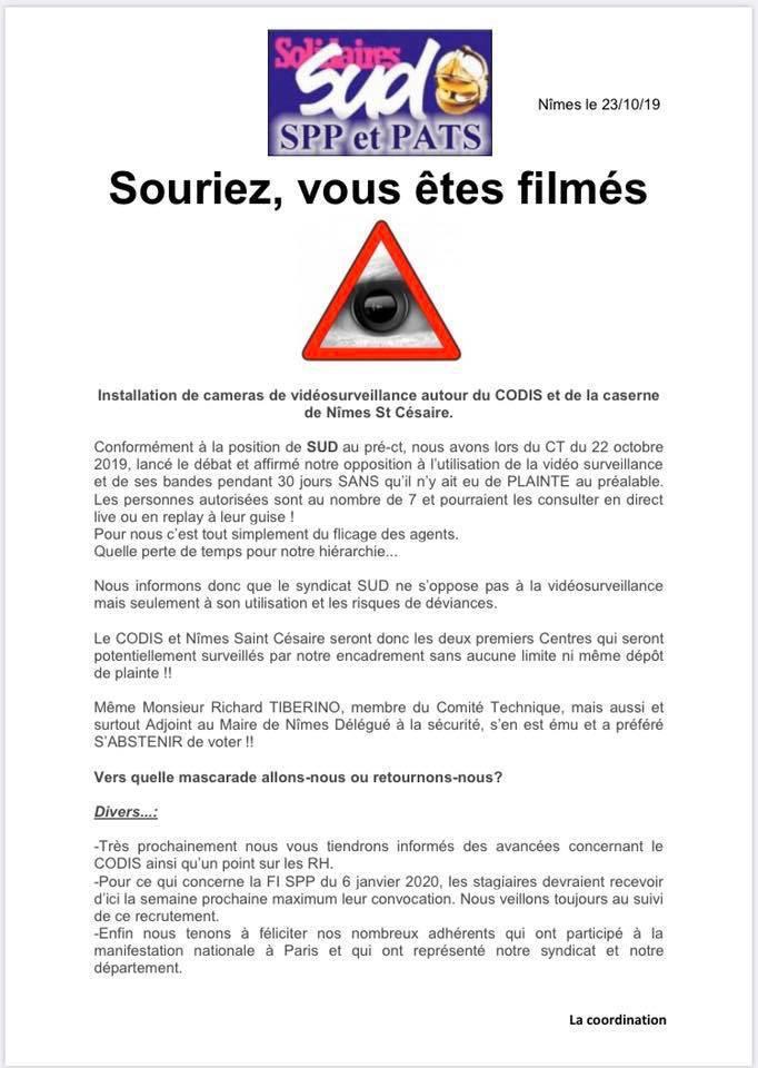🎥 La Vidéosurveillance OUI ‼️🎥 🎥 Son accès à nos chefs NON ‼️🎥🎬