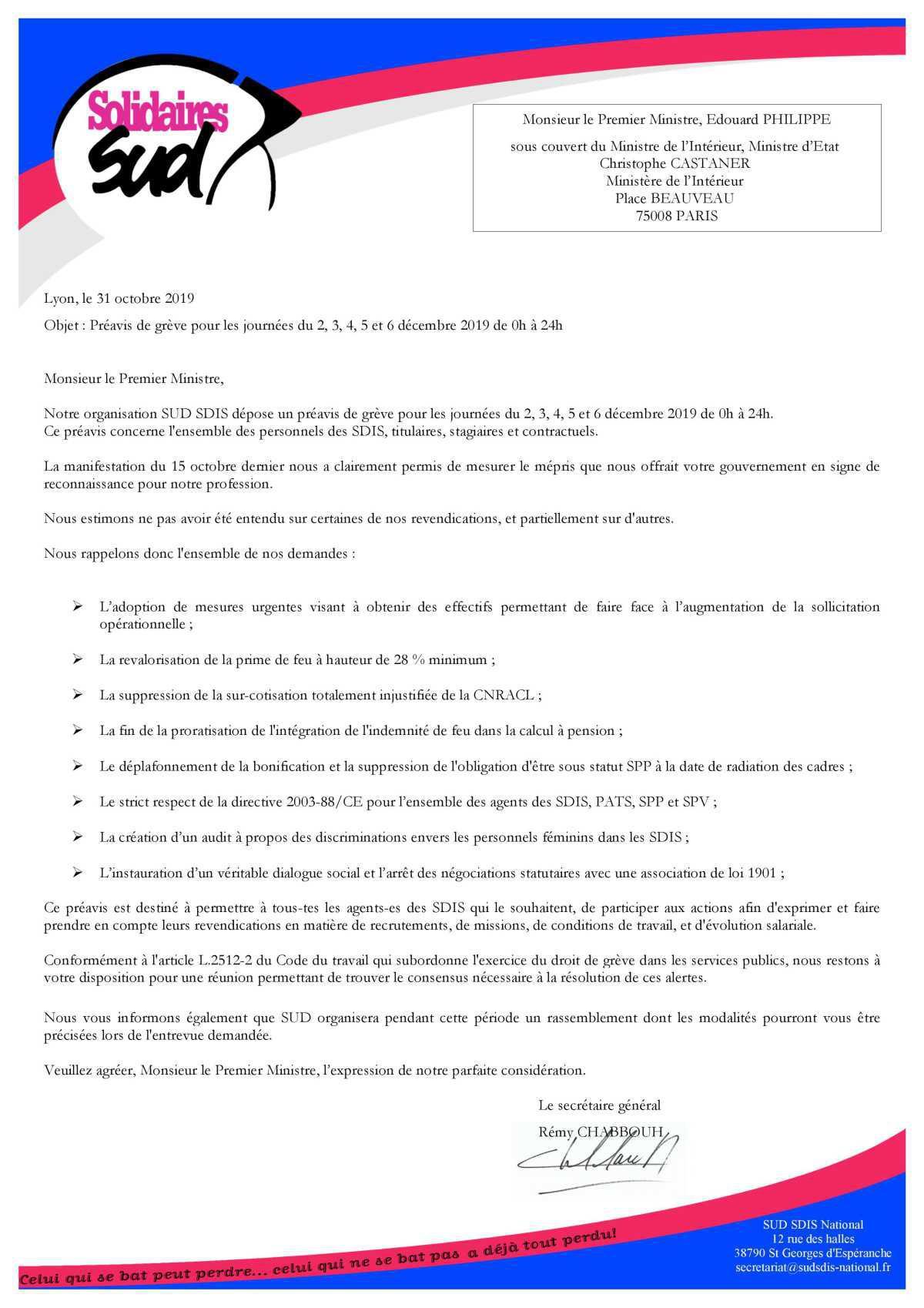 """Préavis de grève """"village des soldats du feu"""""""
