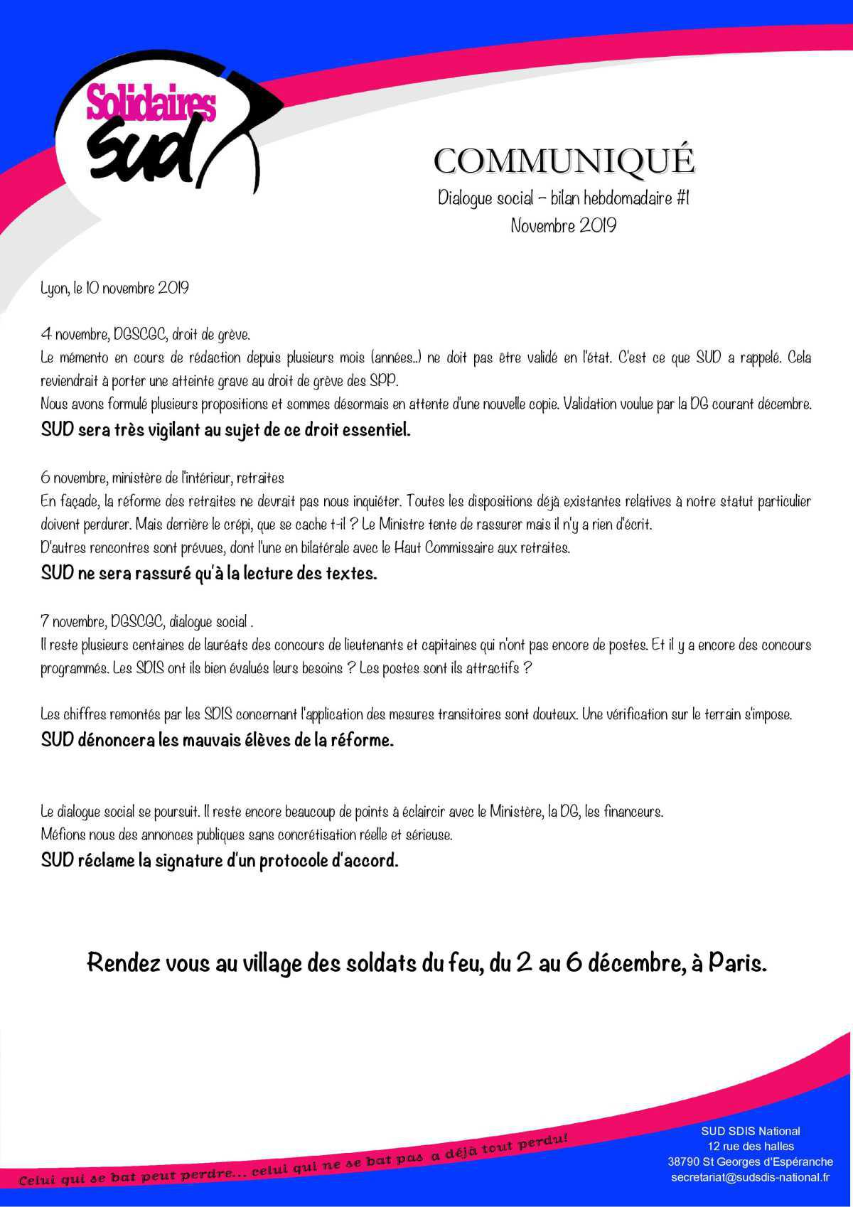 Dialogue social - bilan hebdomadaire #1