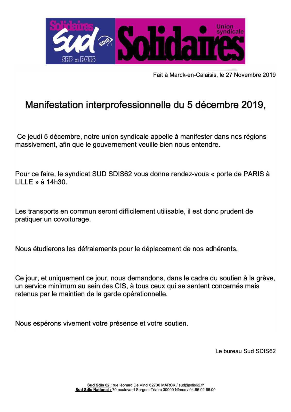 Manifestation interprofessionnelle du 5 décembre 2019