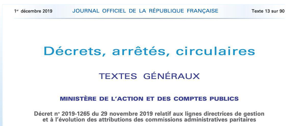 Décret n° 2019-1265 du 29 novembre 2019 relatif aux lignes directrices de gestion et à l'évolution des attributions des commissions administratives paritaires