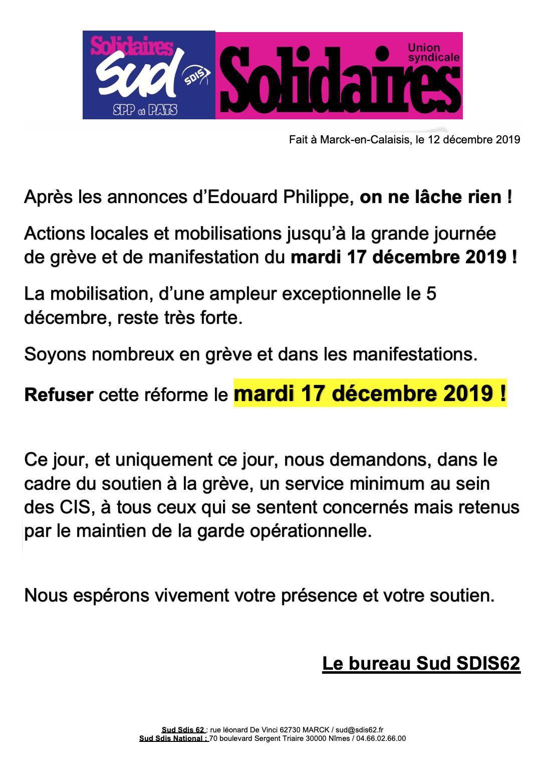 Manifestation interprofessionnelle du 17 décembre 2019