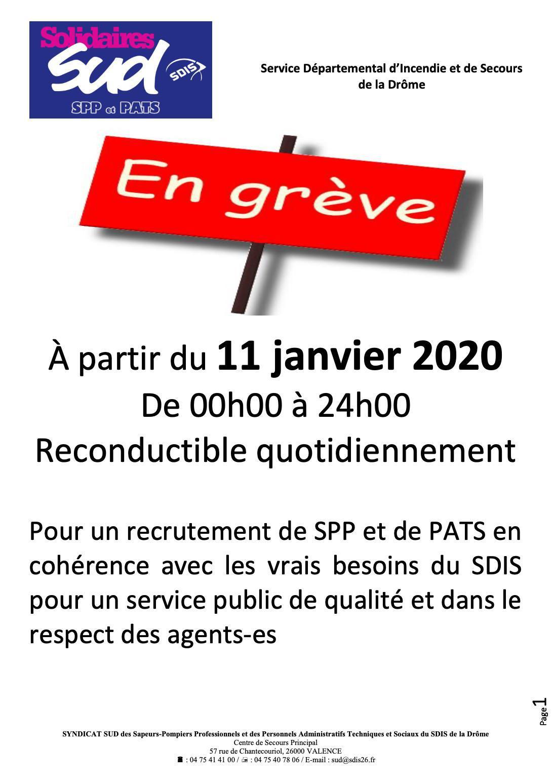 Communiqué Grève 11 janvier 2020