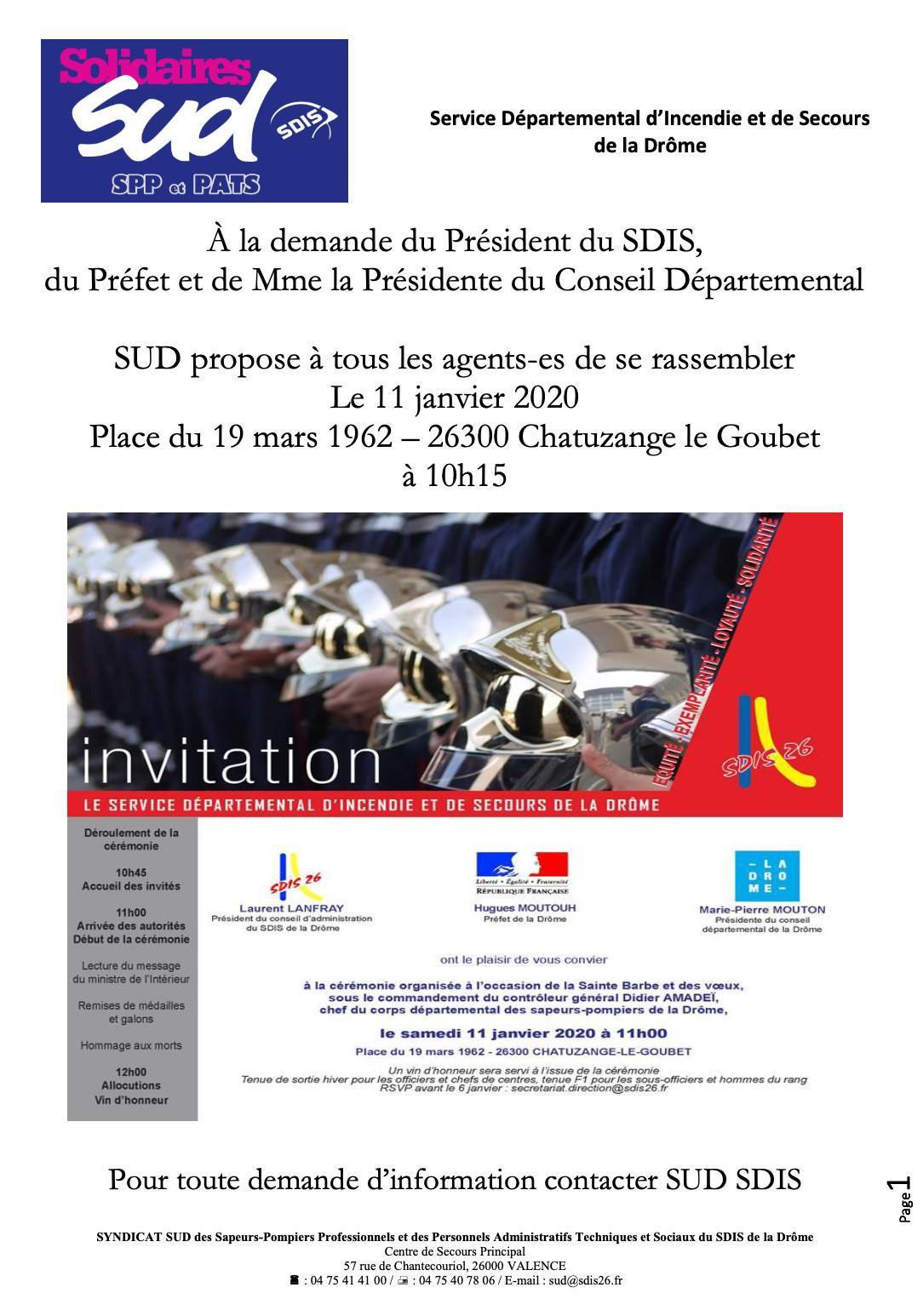 Communiqué rassemblement 11 janvier 2020