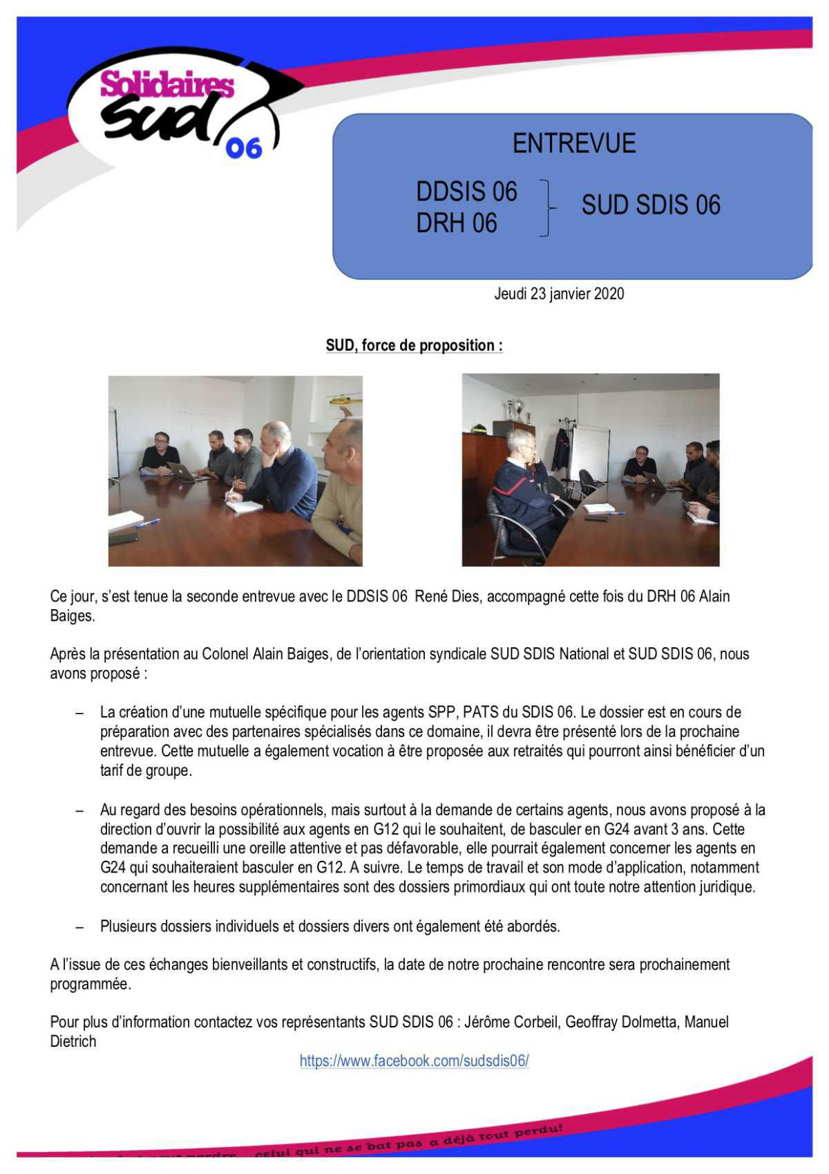 SUD 06 rencontre la direction du SDIS