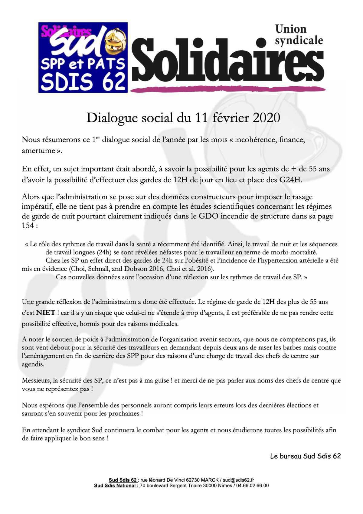 Dialogue social du 11 février 2020