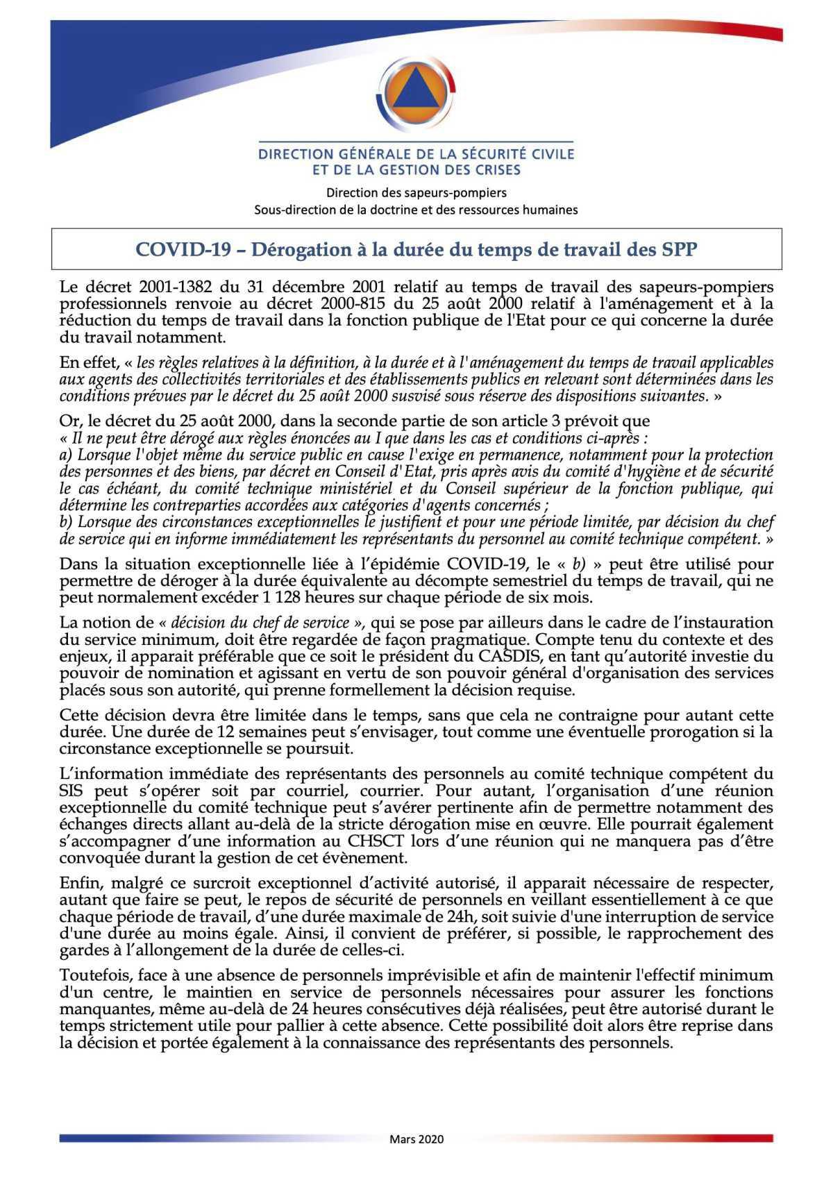 COVID-19 – Dérogation à la durée du temps de travail des SPP